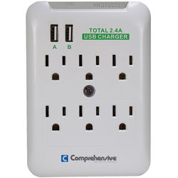 Comprehensive Wall Mount 6-Outlet Surge Protector with Dual USB Ports