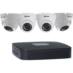 FLIR DN1142E44 4-Channel 5MP NVR with 2TB HDD and 4 4MP Outdoor Turret Cameras