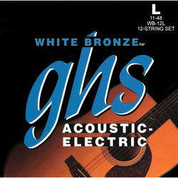 GHS WB-12L Light White Bronze Acoustic/Electric Guitar Strings (12-String Set, 11 - 48)