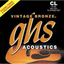 GHS VN-12CL Custom Light Vintage Bronze Acoustic Guitar Strings (12-String Set, 10 - 46)