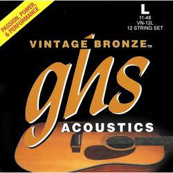 GHS VN-12L Light Vintage Bronze Acoustic Guitar Strings (12-String Set, 11 - 48)