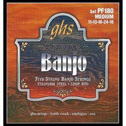 GHS PF180 Medium Stainless Steel Banjo Strings (5-String Set, Loop End, 11 - 10)