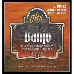 GHS PF185 Almost Medium Stainless Steel Banjo Strings (5-String Set, Loop End, 10.5 - 20)