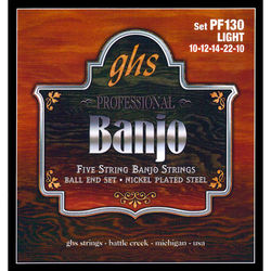 GHS PF130 Light Nickel-Plated Banjo Strings (5-String Set, Ball End, 10 - 22)