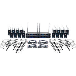VocoPro Hybrid-Play-16 Sixteen-Channel Hybrid Wireless System with Headsets & Lavalier Mics