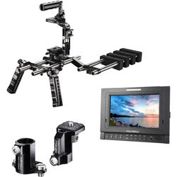 """FeelWorld 7"""" IPS SDI Tally Monitor & Universal XL Action Shoulder Rig with Anti-Twist Kit"""
