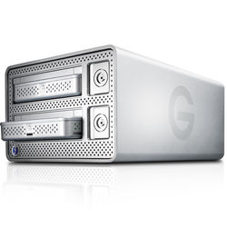 G-Technology G-DOCK ev 2TB 2-Bay Thunderbolt RAID Array (2 x 1TB, White Retail Packaging)