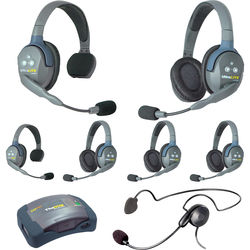 Eartec 7-Person HUB System with One Cyber, Four Double & Two Single Remote Headsets