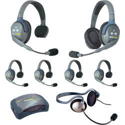 Eartec 7-Person HUB System with One Monarch, One Double, and Five Single Remote Headsets