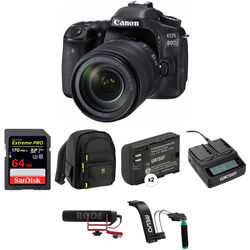 Canon EOS 80D DSLR Camera with 18-135mm Lens Video Kit