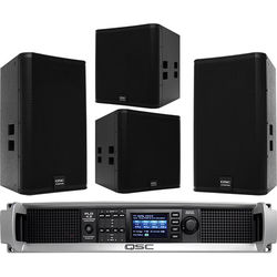 "QSC E15 15"" Two-Way Passive Loudspeaker with E18SW Subwoofer & PLD4.5 Amplifier"