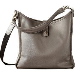 Oberwerth Kate Multi-Functional Basalt Leather Ladies Bag (Dark Gray, Gold-Plated Fastenings & Buttons)