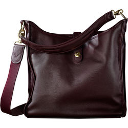 Oberwerth Kate Multi-Functional Plum Leather Ladies Bag (Bordeaux Red, Gold-Plated Fastenings & Buttons)