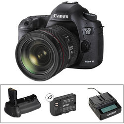 Canon EOS 5D Mark III DSLR Camera with 24-70mm Lens and Accessory Kit