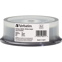 Verbatim BD-R 100GB 4x M-Disc White Inkjet / Hub Printable (25 Pack Spindle)