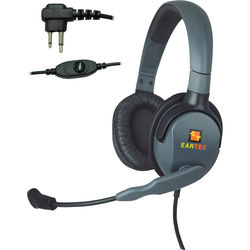 Eartec Headset with Max 4G Double Connector & Inline PTT for Motorola 2-Pin Radios