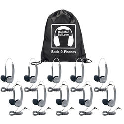 HamiltonBuhl Sack-O-Phones HA1A Personal Headsets with Foam Ear Cushions and Wire Headband (10-Pack)