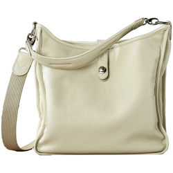 Oberwerth Kate Multi-Functional Ivory Leather Ladies Bag (Beige, Silver Fastenings & Buttons)