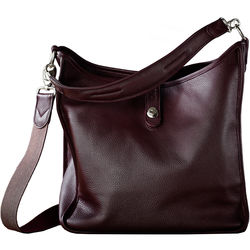 Oberwerth Kate Multi-Functional Plum Leather Ladies Bag (Bordeaux Red, Silver Fastenings & Buttons)
