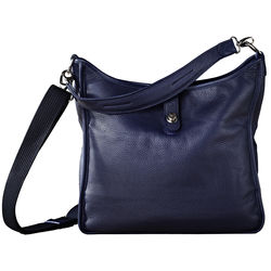 Oberwerth Kate Multi-Functional Gentian Leather Ladies Bag (Navy Blue, Silver Fastenings & Buttons)