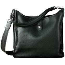 Oberwerth Kate Multi-Functional Oxford Leather Ladies Bag (Green, Silver Fastenings & Buttons)