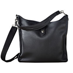 Oberwerth Kate Multi-Functional Black Leather Ladies Bag (Silver Fastenings & Buttons)