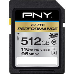 PNY Technologies 512GB Elite Performance UHS-1 SDXC Memory Card (U3, Class 10)