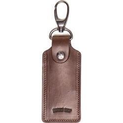 Barber Shop Clipper Leather Key Ring with Three SD Card Holder (Dark Brown)