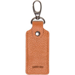 Barber Shop Clipper Leather Key Ring with Three SD Card Holder (Grained Brown)