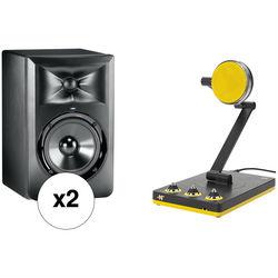 "JBL LSR305 5"" 2-Way Powered Studio Monitors (Pair) & Bumblebee USB Mic Kit"