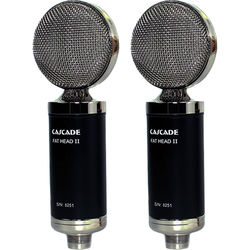 Cascade Microphones FAT HEAD II Ribbon Microphones (Black Body and Silver Grille, Lundahl LL2913 Transformer)