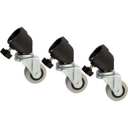 Impact Casters for Light Stands with 25mm Tubular Leg Ends (Black, Set of 3)