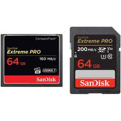 SanDisk 64GB Extreme PRO CompactFlash & 64GB Extreme PRO UHS-I SDXC Memory Card Kit