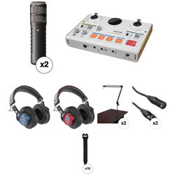 Rode Procaster 2-Person Kit with Audio Interface, Stands, Headphones, and Cables
