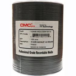 CMC Pro DVD-R 4.7GB 16x White High Gloss Inkjet Hub Printable Disc (100-Pack Tape Wrap)