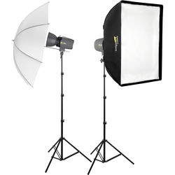 Angler Glamour Flash 160Ws 2-Monolight Kit with Stands and Accessories