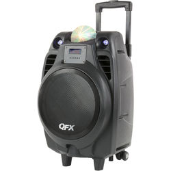 """QFX 10"""" Battery-Powered Bluetooth Portable Party Speaker with USB Recording (Black)"""