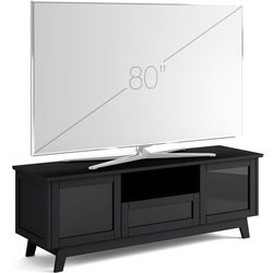 "Salamander Designs Audio/Video Cabinet in Black Oak with Smoked Glass Doors (72 x 25 x 21"")"