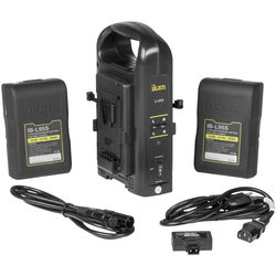 ikan Dual Pro Battery Charger with 2 x 95 Wh V-Mount Batteries and AB-USB A