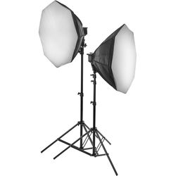Raya Octa Fluorescent 7-Socket Fixture 2-Light Softbox Kit