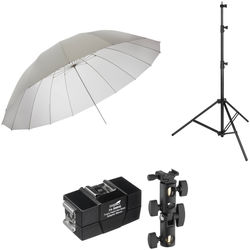 Impact 7' Parabolic Umbrella (White Diffusion) With Light Stand Kit