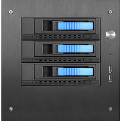 "iStarUSA Compact Stylish 3x 3.5"" Hotswap mini-ITX Tower (Blue HDD Handles)"