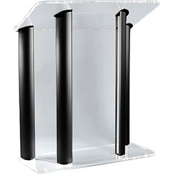 """AmpliVox Sound Systems Contemporary Clear Acrylic Tint and Black Aluminum Panels Lectern (42"""" Width)"""