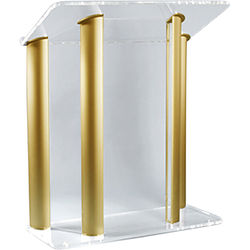 """AmpliVox Sound Systems Contemporary Clear Acrylic Tint and Gold Aluminum Panels Lectern (42"""" Width)"""