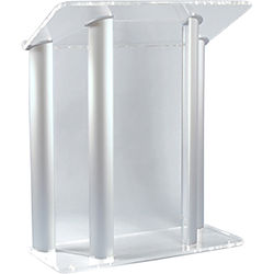 """AmpliVox Sound Systems Contemporary Clear Acrylic Tint and Silver Aluminum Panels Lectern (42"""" Width)"""