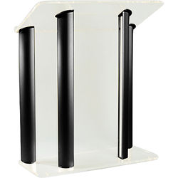"""AmpliVox Sound Systems Contemporary Frosted Acrylic Tint and Black Aluminum Panels Lectern (42"""" Width)"""