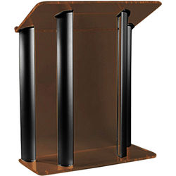 """AmpliVox Sound Systems Contemporary Smoked Acrylic Tint and Black Aluminum Panels Lectern (42"""" Width)"""