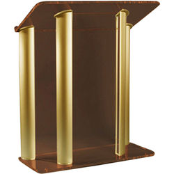 """AmpliVox Sound Systems Contemporary Smoked Acrylic Tint and Gold Aluminum Panels Lectern (42"""" Width)"""