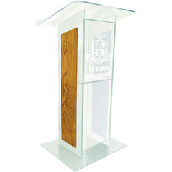 """AmpliVox Sound Systems Clear """"H"""" Style Acrylic and Wood Panel Floor Lectern with Shelf (Medium Oak)"""