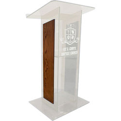"""AmpliVox Sound Systems Clear """"H"""" Style Acrylic and Wood Panel Floor Lectern with Shelf (Walnut)"""